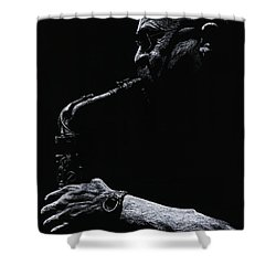 Temperate Sax Shower Curtain by Richard Young