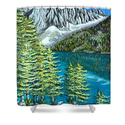 Shower Curtain featuring the painting Temple Crag by Amelie Simmons