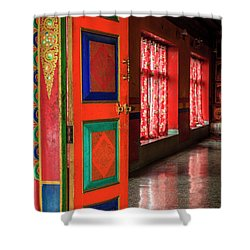 Shower Curtain featuring the photograph Temple Door by Alexey Stiop