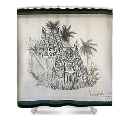Temple In Calligraphy Ink Shower Curtain