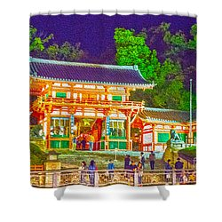 Shower Curtain featuring the painting Temple In Kyoto by Pravine Chester