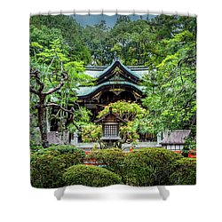 Shower Curtain featuring the photograph Temple In The Rain by Rikk Flohr
