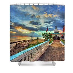 Temple In The Sea Shower Curtain by Nadia Sanowar