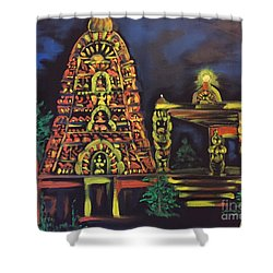 Shower Curtain featuring the painting Temple Lights In The Night by Brindha Naveen