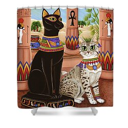 Temple Of Bastet - Bast Goddess Cat Shower Curtain by Carrie Hawks