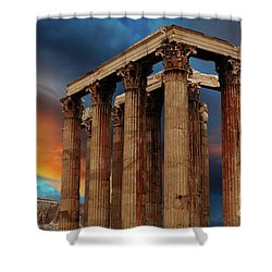 Temple Of Olympian Zeus Shower Curtain by Bob Christopher