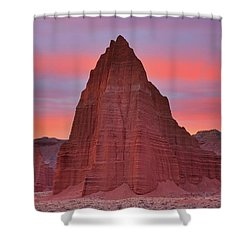 Temple Of The Sun And Moon At Sunrise At Capitol Reef National Park Shower Curtain