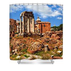 Temple Of Vesta Shower Curtain by Anthony Dezenzio