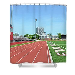 Temple Owls - Dan And Shelley Boyce Track Shower Curtain by Bill Cannon