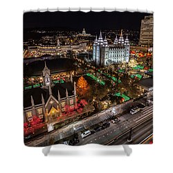 Temple Square Christmas Shower Curtain