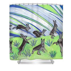 Shower Curtain featuring the painting Ten Leaping Hares by Denise Weaver Ross
