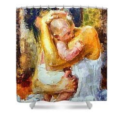 Shower Curtain featuring the painting Tender Moment by Dragica  Micki Fortuna