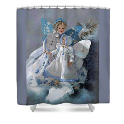 Shower Curtain featuring the painting Tenderness Snow Fairies by Nancy Lee Moran