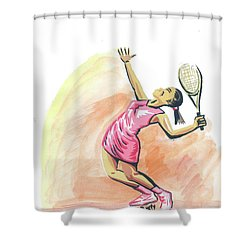 Tennis 03 Shower Curtain by Emmanuel Baliyanga