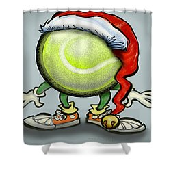 Tennis Christmas Shower Curtain by Kevin Middleton