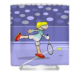 Tennis Player Playing A Championship Final Shower Curtain