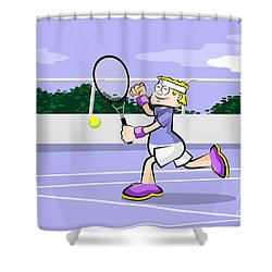 Tennis Player Runs With His Racket To Hit The Ball Shower Curtain