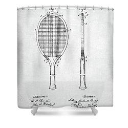 Tennis Racket Patent 1907 Shower Curtain