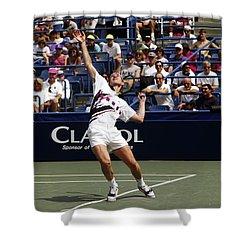 Tennis Serve Shower Curtain by Sally Weigand