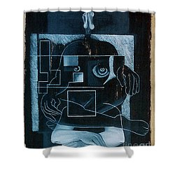 Shower Curtain featuring the painting Tense Leisure by Fei A