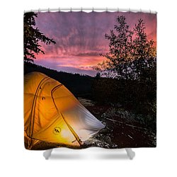 Tent At Sunset Shower Curtain