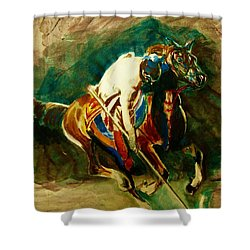 Tent Pegging Sport Shower Curtain by Khalid Saeed