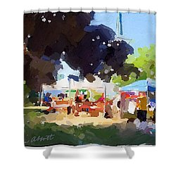 Tents And Church Steeple At Rockport Farmers Market Shower Curtain
