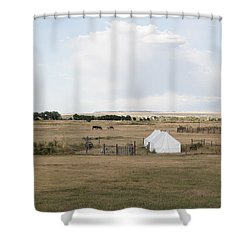 Tents At Fort Laramie National Historic Site In Goshen County Shower Curtain by Carol M Highsmith