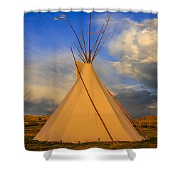 Tepee At Sunset In Montana Shower Curtain