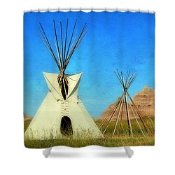 Tepee In Badlands Shower Curtain by Teresa Zieba
