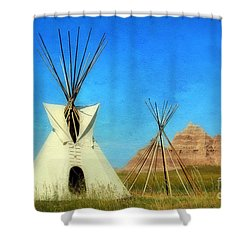 Tepee In Badlands Shower Curtain