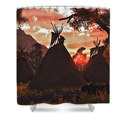 Tepee Sunset Shower Curtain by Walter Colvin