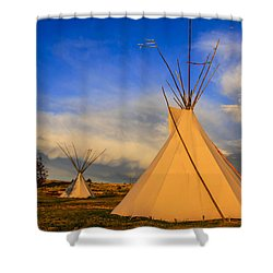 Tepees At Sunset In Montana Shower Curtain