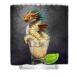 Shower Curtain featuring the digital art Tequila Wyrm by Stanley Morrison