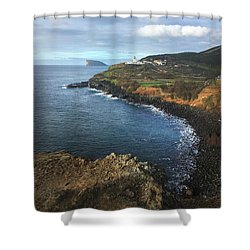 Shower Curtain featuring the photograph Terceira Island Coast With Ilheus De Cabras And Ponta Das Contendas Lighthouse  by Kelly Hazel