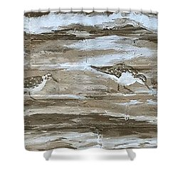 Shower Curtain featuring the painting Teresa's Sandpipers by Stan Tenney
