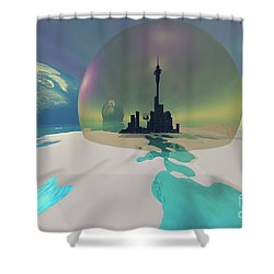 Terra-moon Shower Curtain by Corey Ford