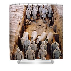 Shower Curtain featuring the photograph Terracotta Army by Heiko Koehrer-Wagner