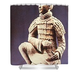 Shower Curtain featuring the photograph Terracotta Soldier by Heiko Koehrer-Wagner