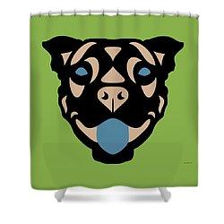 Terrier Terry - Dog Design - Greenery, Hazelnut, Niagara Blue Shower Curtain by Manuel Sueess