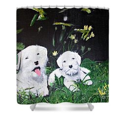Terriers' Farm Pals. Shower Curtain