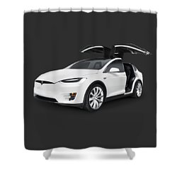 Tesla Model X Luxury Suv Electric Car With Open Falcon-wing Doors Art Photo Print Shower Curtain