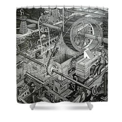 Teslas Free Energy  Shower Curtain by Richie Montgomery