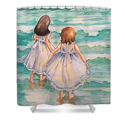 Shower Curtain featuring the painting Testing The Waters by Rosemary Aubut