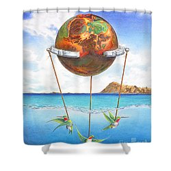 Tethered Sphere Shower Curtain by Melissa A Benson