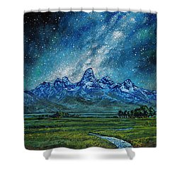 Shower Curtain featuring the painting Teton Milky Way by Aaron Spong