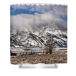 Shower Curtain featuring the photograph Teton Mormon Homestead Panorama by Adam Jewell