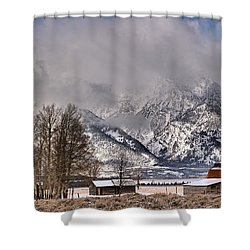 Shower Curtain featuring the photograph Teton Mormon Row Panorama by Adam Jewell