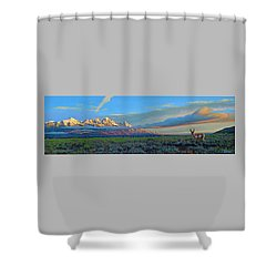 Teton Morning Shower Curtain by Paul Krapf