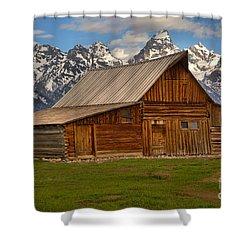 Teton Mountain Barn Shower Curtain by Adam Jewell